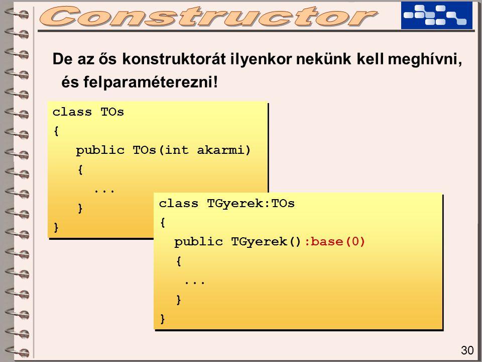 class TOs { public TOs(int akarmi) {... } class TOs { public TOs(int akarmi) {... } De az ős konstruktorát ilyenkor nekünk kell meghívni, és felparamé