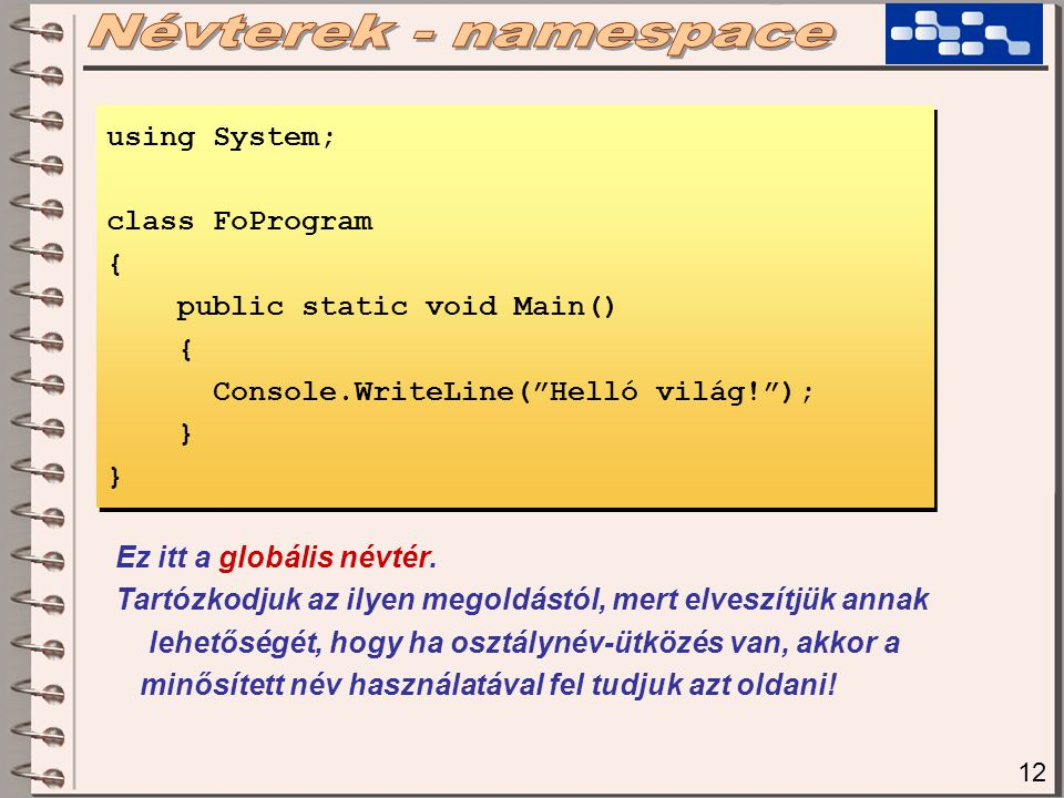 12 using System; class FoProgram { public static void Main() { Console.WriteLine( Helló világ! ); } using System; class FoProgram { public static void Main() { Console.WriteLine( Helló világ! ); } Ez itt a globális névtér.