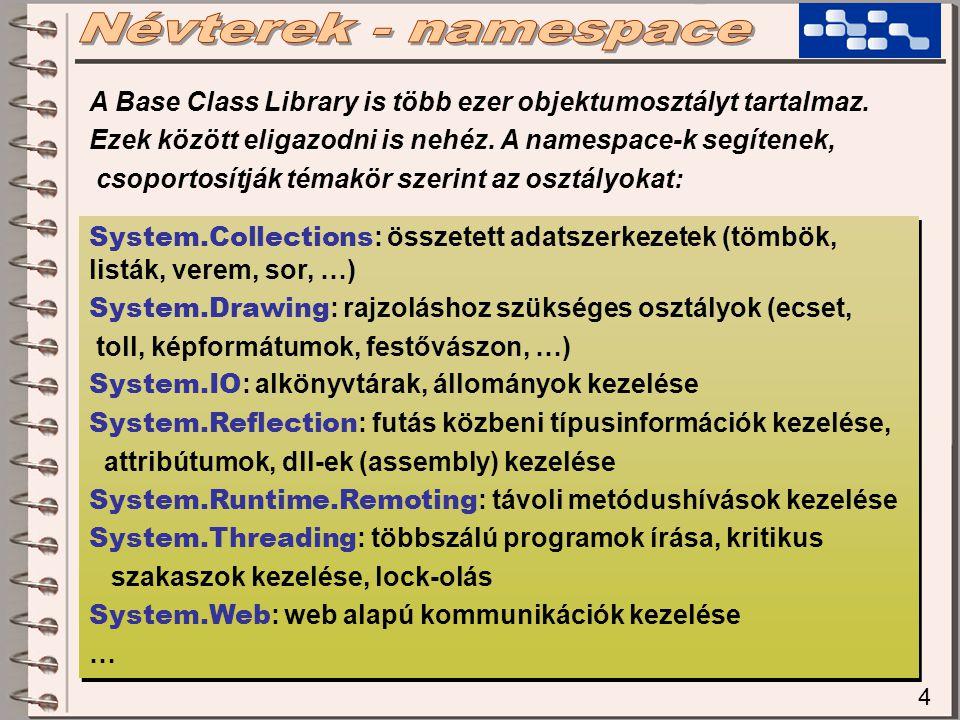 4 A Base Class Library is több ezer objektumosztályt tartalmaz.