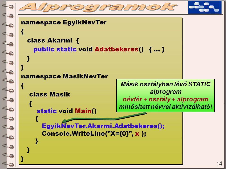 14 namespace EgyikNevTer { class Akarmi { public static void Adatbekeres() { … } } namespace MasikNevTer { class Masik { static void Main() { EgyikNevTer.Akarmi.Adatbekeres(); Console.WriteLine( X={0} , x ); } namespace EgyikNevTer { class Akarmi { public static void Adatbekeres() { … } } namespace MasikNevTer { class Masik { static void Main() { EgyikNevTer.Akarmi.Adatbekeres(); Console.WriteLine( X={0} , x ); } Másik osztályban lévő STATIC alprogram névtér + osztály + alprogram minősített névvel aktivizálható!