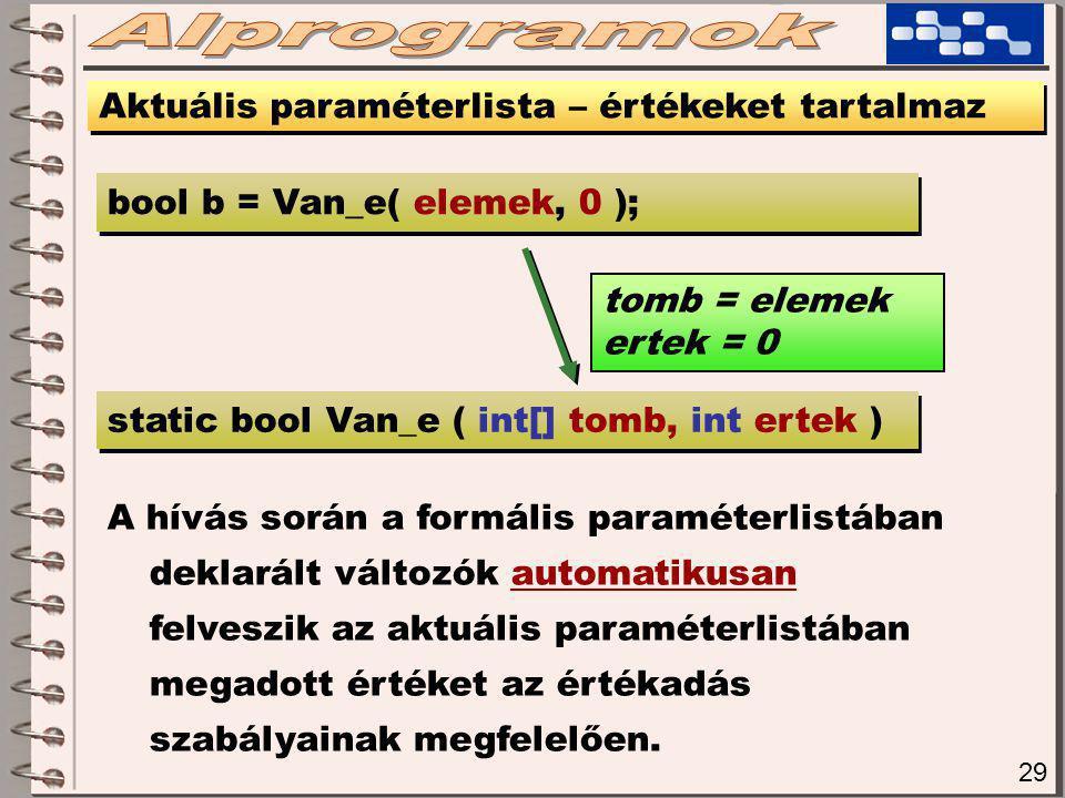 29 Aktuális paraméterlista – értékeket tartalmaz static bool Van_e ( int[] tomb, int ertek ) bool b = Van_e( elemek, 0 ); tomb = elemek ertek = 0 A hívás során a formális paraméterlistában deklarált változók automatikusan felveszik az aktuális paraméterlistában megadott értéket az értékadás szabályainak megfelelően.