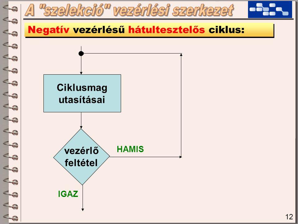12 Negatív vezérlésű hátultesztelős ciklus: vezérlő feltétel Ciklusmag utasításai HAMIS IGAZ