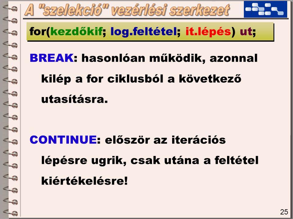 25 for(kezdőkif; log.feltétel; it.lépés) ut; BREAK: hasonlóan működik, azonnal kilép a for ciklusból a következő utasításra.
