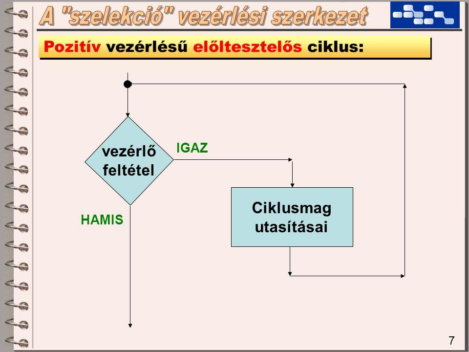 7 Pozitív vezérlésű előltesztelős ciklus: vezérlő feltétel Ciklusmag utasításai IGAZ HAMIS