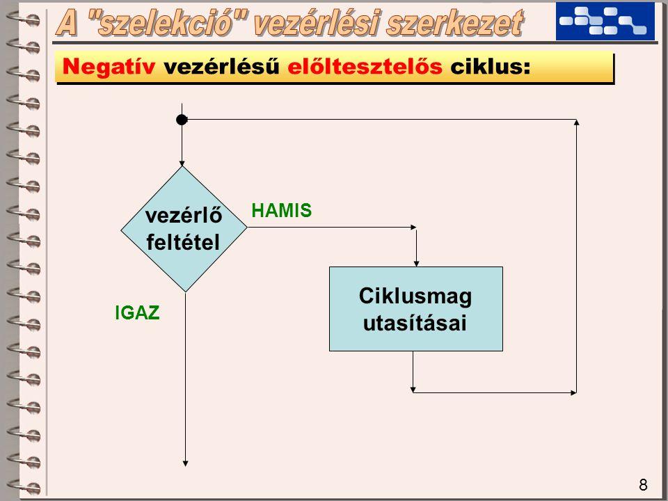 8 Negatív vezérlésű előltesztelős ciklus: vezérlő feltétel Ciklusmag utasításai HAMIS IGAZ