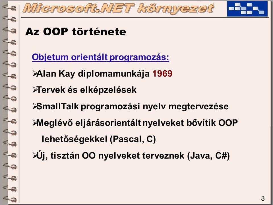 3 Az OOP története Objetum orientált programozás:  Alan Kay diplomamunkája 1969  Tervek és elképzelések  SmallTalk programozási nyelv megtervezése