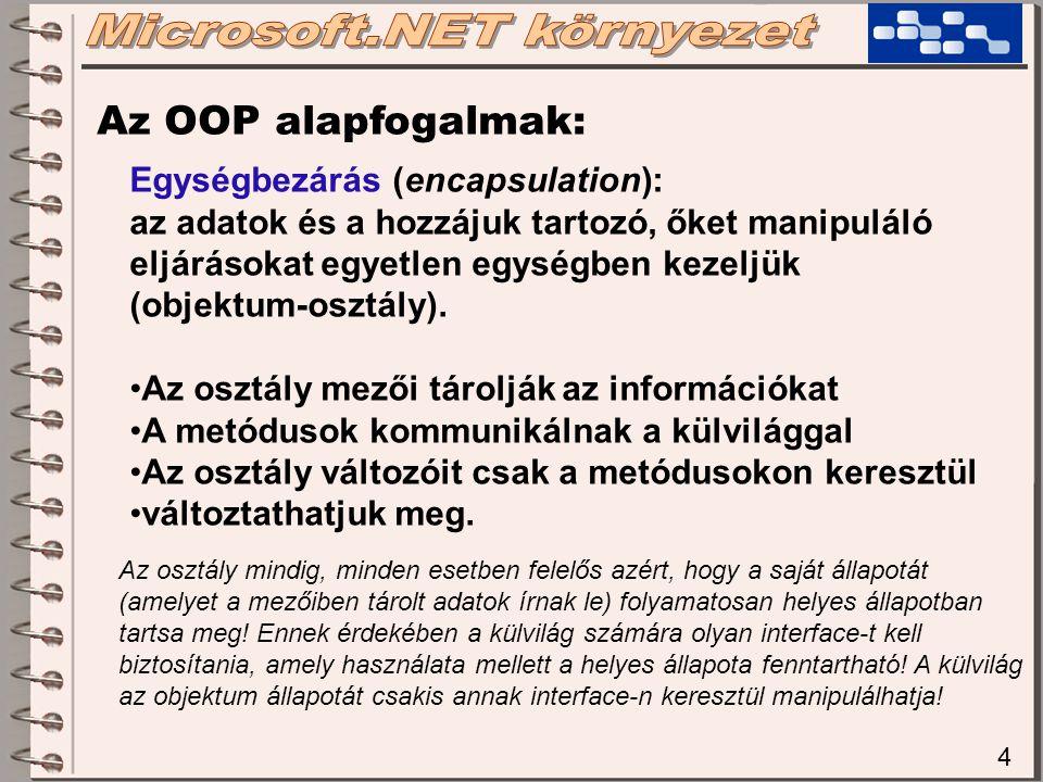 4 Az OOP alapfogalmak: Egységbezárás (encapsulation): az adatok és a hozzájuk tartozó, őket manipuláló eljárásokat egyetlen egységben kezeljük (objekt