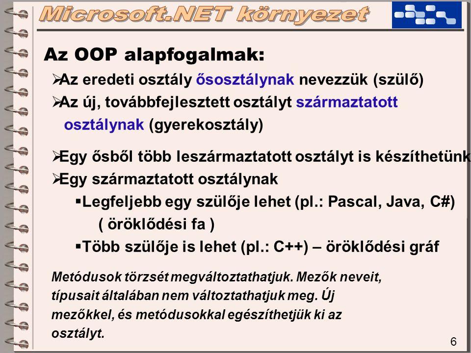 6 Az OOP alapfogalmak:  Az eredeti osztály ősosztálynak nevezzük (szülő)  Az új, továbbfejlesztett osztályt származtatott osztálynak (gyerekosztály)