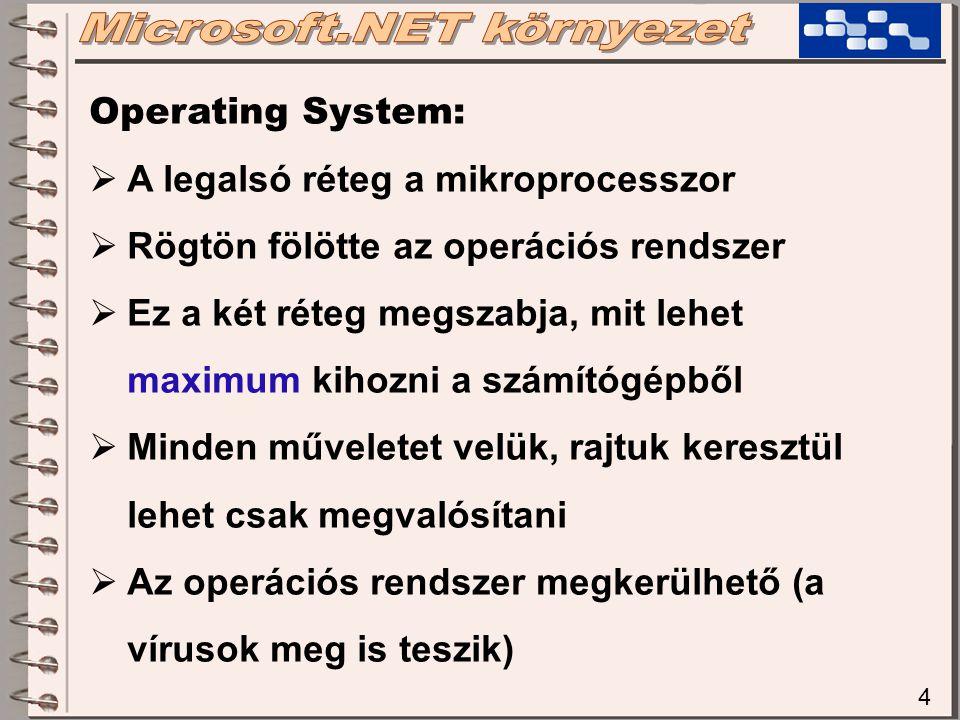 4 Operating System:  A legalsó réteg a mikroprocesszor  Rögtön fölötte az operációs rendszer  Ez a két réteg megszabja, mit lehet maximum kihozni a számítógépből  Minden műveletet velük, rajtuk keresztül lehet csak megvalósítani  Az operációs rendszer megkerülhető (a vírusok meg is teszik)