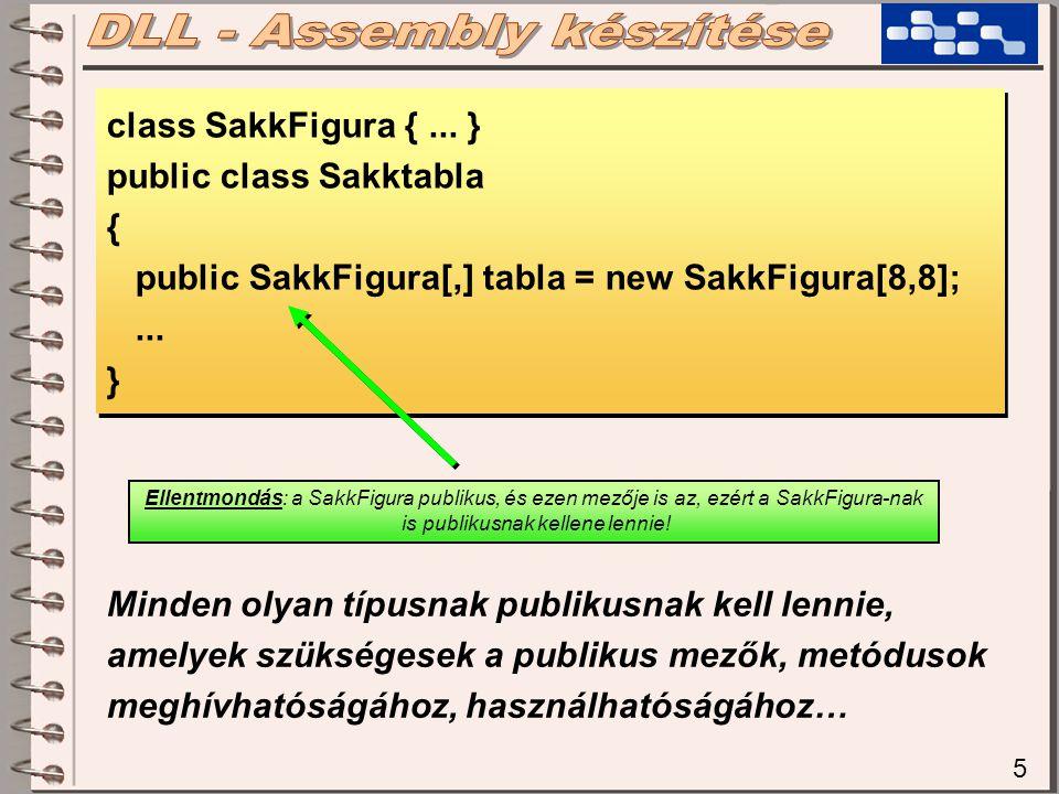 5 class SakkFigura {... } public class Sakktabla { public SakkFigura[,] tabla = new SakkFigura[8,8];... } class SakkFigura {... } public class Sakktab