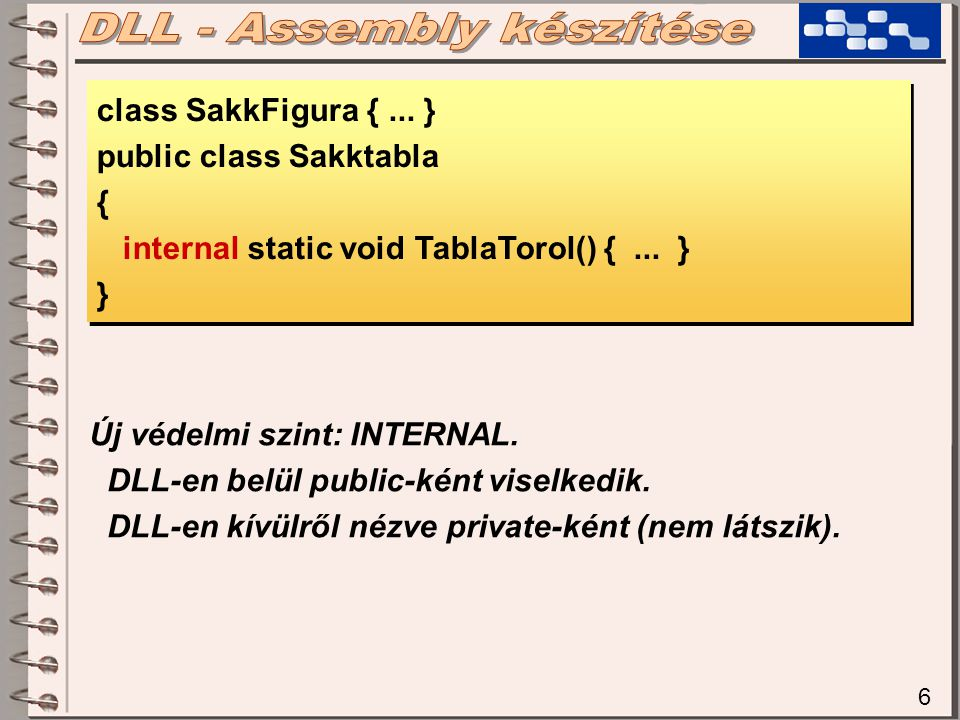 6 class SakkFigura {... } public class Sakktabla { internal static void TablaTorol() {...