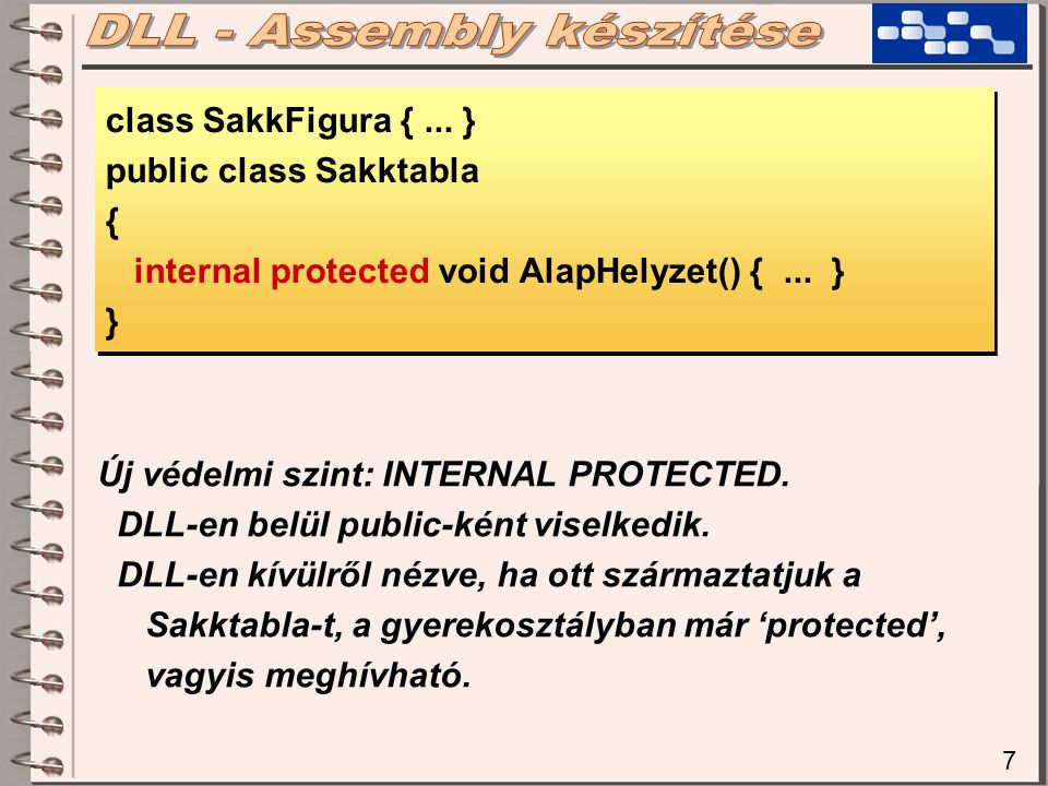 7 class SakkFigura {... } public class Sakktabla { internal protected void AlapHelyzet() {...