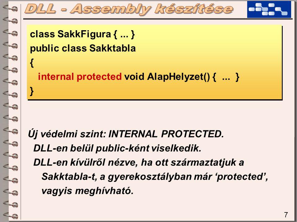 7 class SakkFigura {... } public class Sakktabla { internal protected void AlapHelyzet() {... } } class SakkFigura {... } public class Sakktabla { int