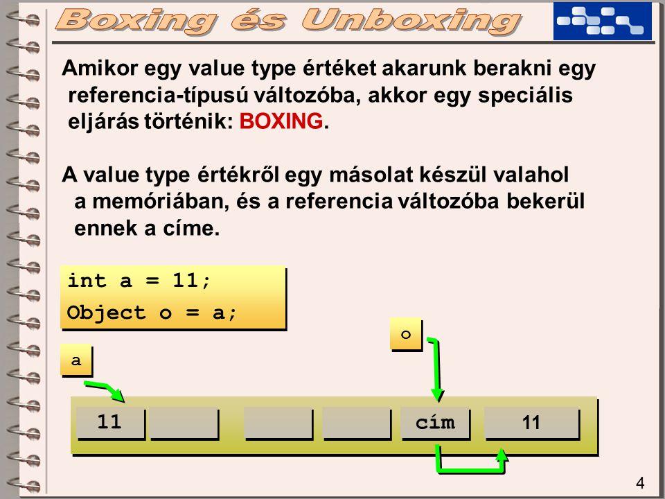 4 Amikor egy value type értéket akarunk berakni egy referencia-típusú változóba, akkor egy speciális eljárás történik: BOXING.