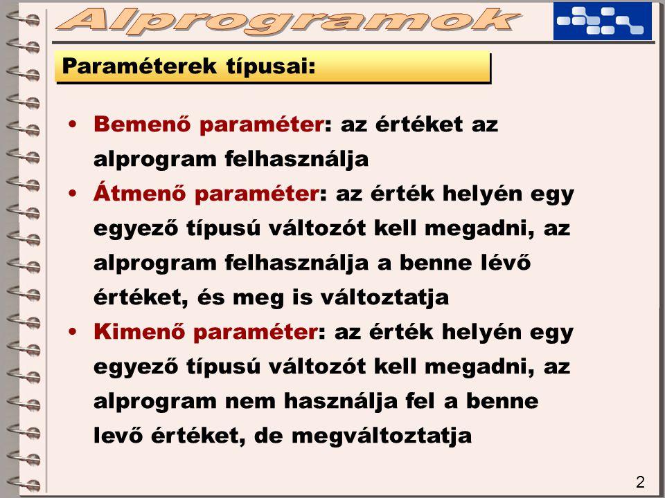 2 Paraméterek típusai: Bemenő paraméter: az értéket az alprogram felhasználja Átmenő paraméter: az érték helyén egy egyező típusú változót kell megadni, az alprogram felhasználja a benne lévő értéket, és meg is változtatja Kimenő paraméter: az érték helyén egy egyező típusú változót kell megadni, az alprogram nem használja fel a benne levő értéket, de megváltoztatja