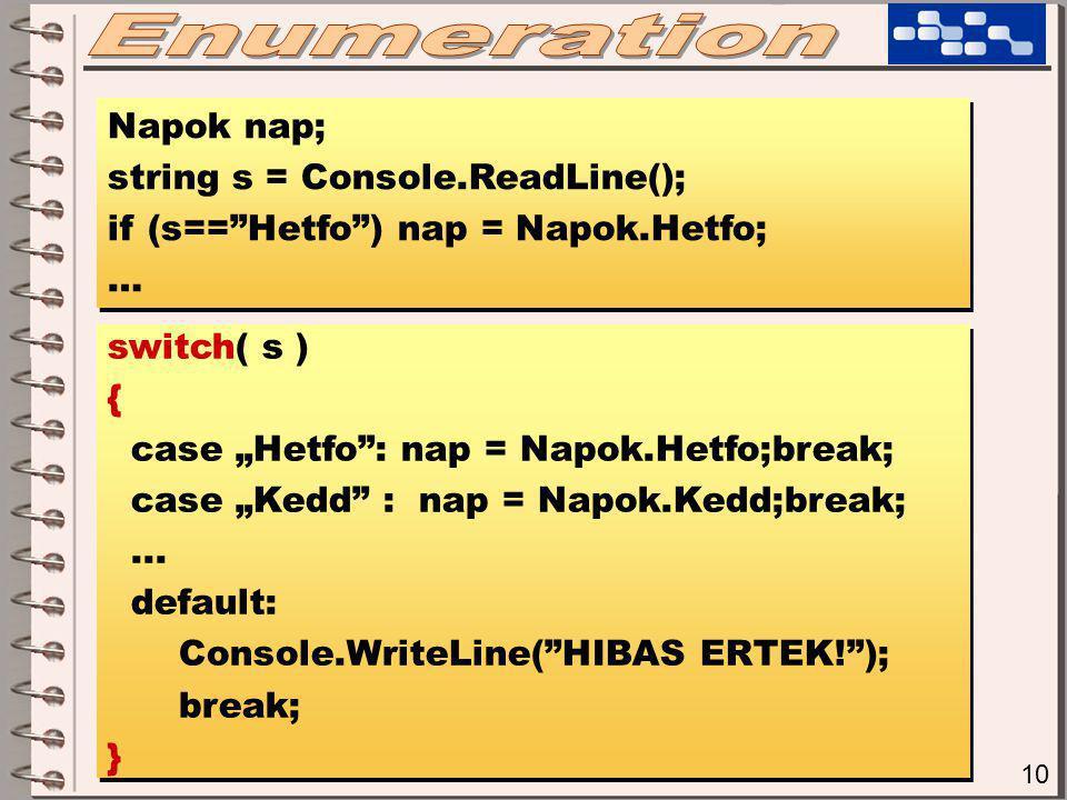 """10 Napok nap; string s = Console.ReadLine(); if (s== Hetfo ) nap = Napok.Hetfo; … Napok nap; string s = Console.ReadLine(); if (s== Hetfo ) nap = Napok.Hetfo; … switch( s ) { case """"Hetfo : nap = Napok.Hetfo;break; case """"Kedd : nap = Napok.Kedd;break;..."""