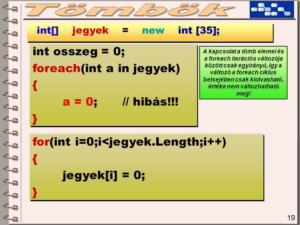 19 int[] jegyek = new int [35]; int osszeg = 0; foreach(int a in jegyek) { a = 0;// hibás!!.