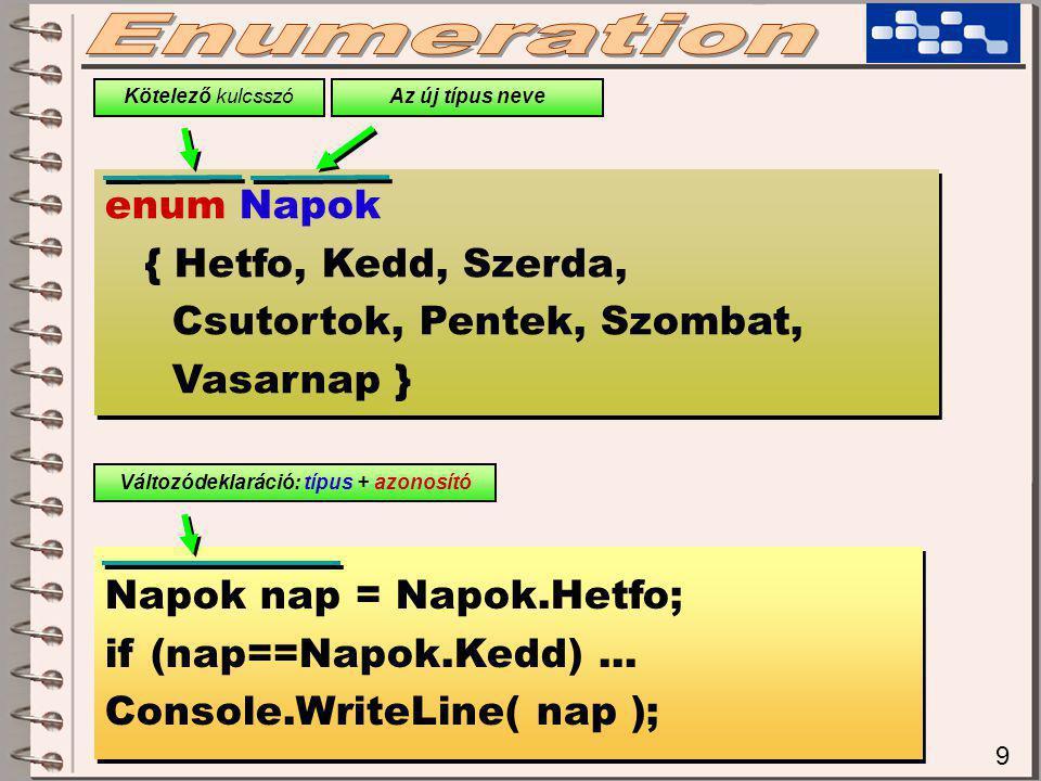 20 Kor[] korok = new Kor[20]; for(int i=0;i<korok.Length;i++) korok[i] = new Kor(); for(int i=0;i<korok.Length;i++) korok[i] = new Kor(); foreach(Kor k in korok) k.sugar = 20; foreach(Kor k in korok) k.sugar = 20; for(int i=0;i<korok.Length;i++) korok[i].sugar = 20; for(int i=0;i<korok.Length;i++) korok[i].sugar = 20; Ez viszont működik, mert nem magát a k változót változtatjuk (nem rá vonatkozik az értékadás), hanem a k valamely mezőjére foreach(Kor k in korok) k = new Kor(); foreach(Kor k in korok) k = new Kor(); Ez viszont továbbra sem működik az előző okok miatt!