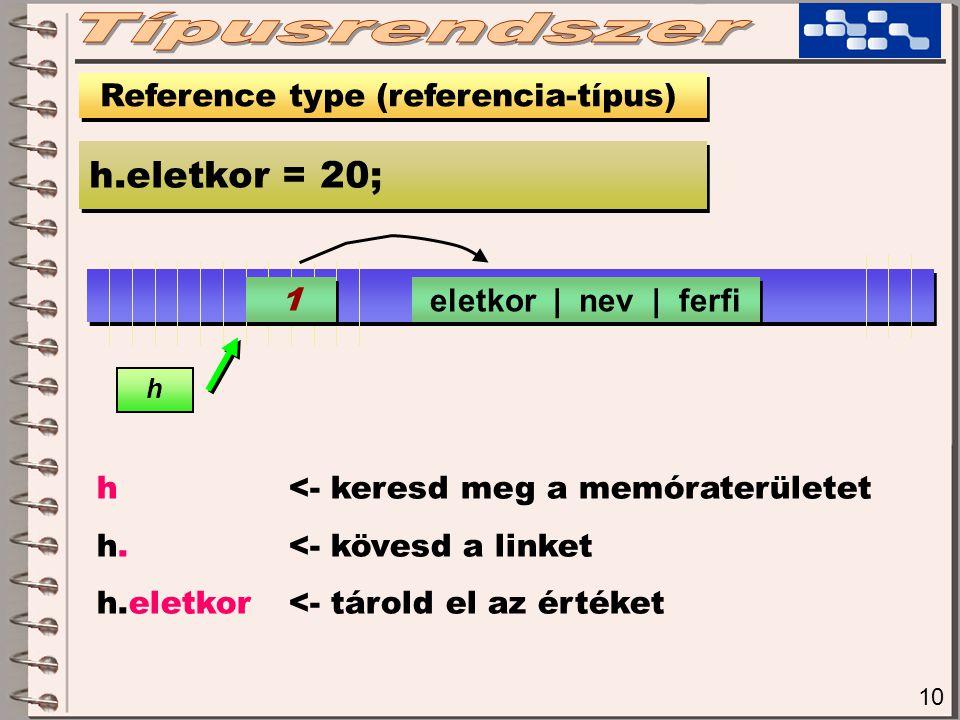 10 Reference type (referencia-típus) h.eletkor = 20; 1 1 h h <- keresd meg a memóraterületet h.