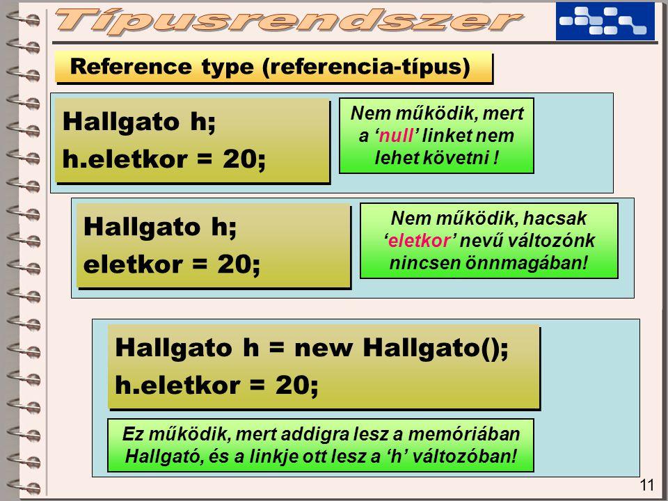 11 Reference type (referencia-típus) Hallgato h; h.eletkor = 20; Hallgato h; h.eletkor = 20; Nem működik, mert a 'null' linket nem lehet követni .