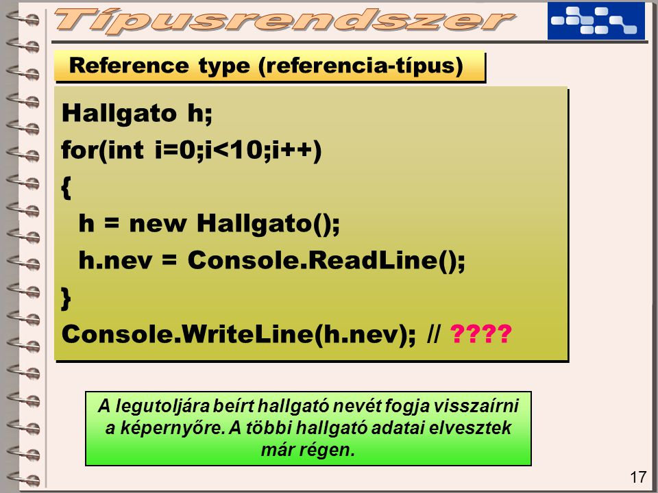 17 Reference type (referencia-típus) Hallgato h; for(int i=0;i<10;i++) { h = new Hallgato(); h.nev = Console.ReadLine(); } Console.WriteLine(h.nev); // ???.