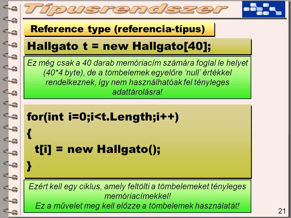 21 Reference type (referencia-típus) Hallgato t = new Hallgato[40]; Ezért kell egy ciklus, amely feltölti a tömbelemeket tényleges memóriacímekkel.