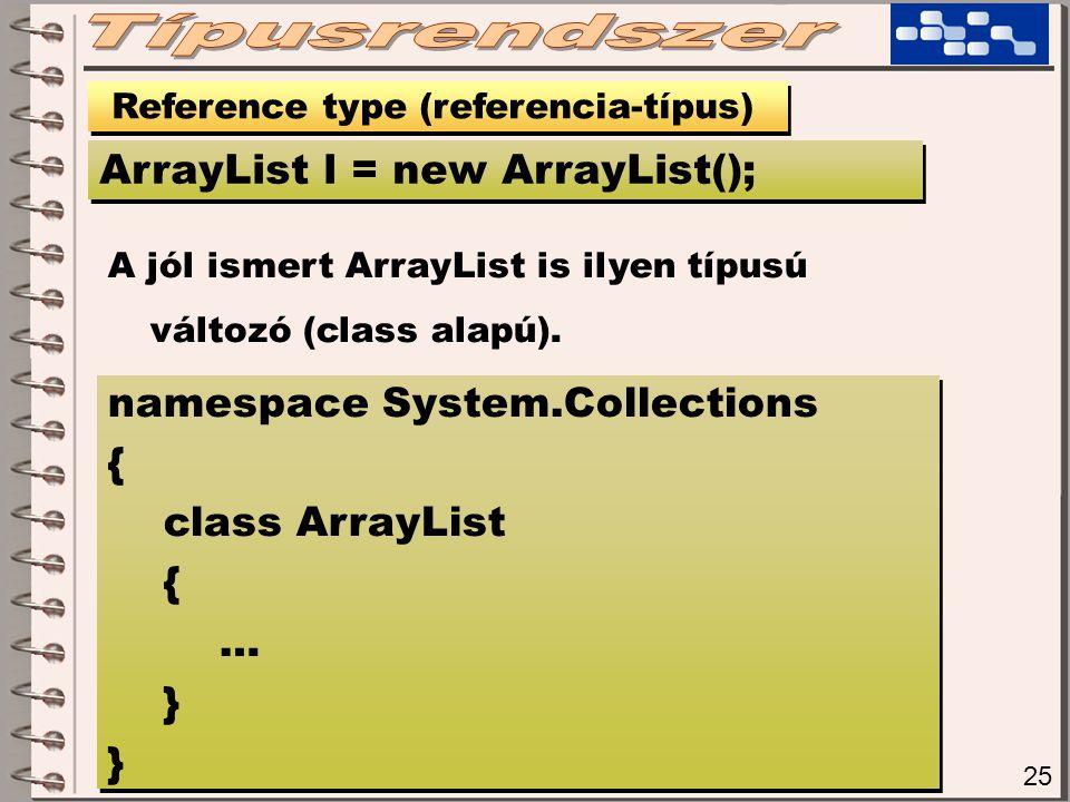 25 Reference type (referencia-típus) ArrayList l = new ArrayList(); A jól ismert ArrayList is ilyen típusú változó (class alapú).