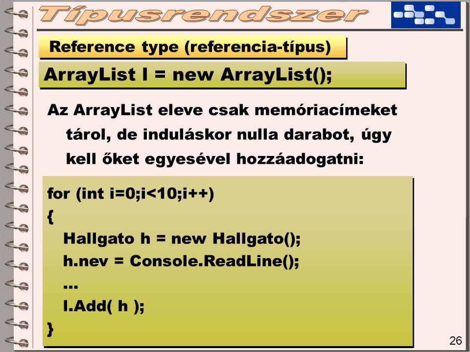 26 Reference type (referencia-típus) ArrayList l = new ArrayList(); Az ArrayList eleve csak memóriacímeket tárol, de induláskor nulla darabot, úgy kell őket egyesével hozzáadogatni: for (int i=0;i<10;i++) { Hallgato h = new Hallgato(); h.nev = Console.ReadLine(); … l.Add( h ); } for (int i=0;i<10;i++) { Hallgato h = new Hallgato(); h.nev = Console.ReadLine(); … l.Add( h ); }