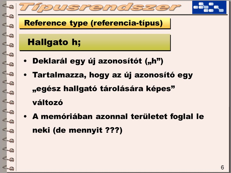 27 Reference type (referencia-típus) string s = Hello Vilag! 1 1 s H | e | l | l | o | | V | i | l | a | g | .