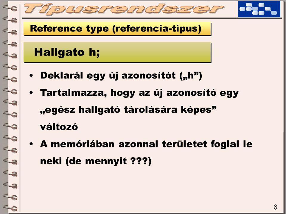 """6 Reference type (referencia-típus) Hallgato h; Deklarál egy új azonosítót (""""h ) Tartalmazza, hogy az új azonosító egy """"egész hallgató tárolására képes változó A memóriában azonnal területet foglal le neki (de mennyit ???)"""