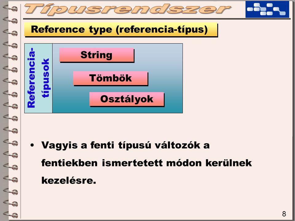 8 Vagyis a fenti típusú változók a fentiekben ismertetett módon kerülnek kezelésre.