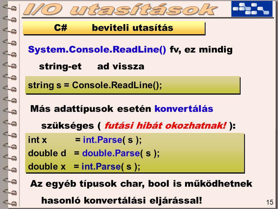 15 C# beviteli utasítás System.Console.ReadLine() fv, ez mindig string-et ad vissza string s = Console.ReadLine(); Más adattípusok esetén konvertálás szükséges ( futási hibát okozhatnak.