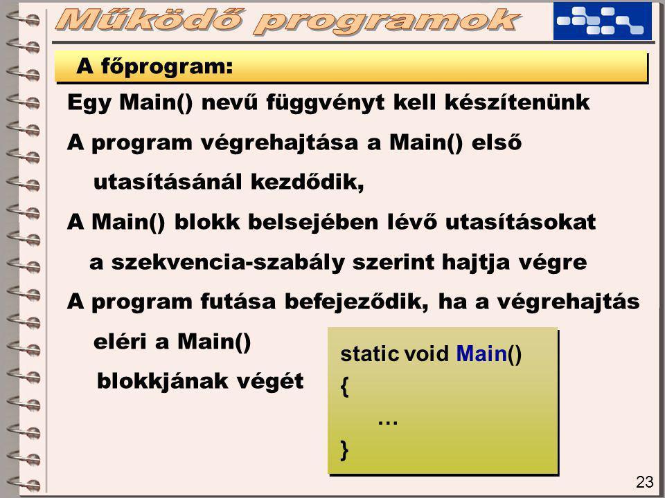 23 A főprogram: Egy Main() nevű függvényt kell készítenünk A program végrehajtása a Main() első utasításánál kezdődik, A Main() blokk belsejében lévő utasításokat a szekvencia-szabály szerint hajtja végre A program futása befejeződik, ha a végrehajtás eléri a Main() blokkjának végét static void Main() { … } static void Main() { … }