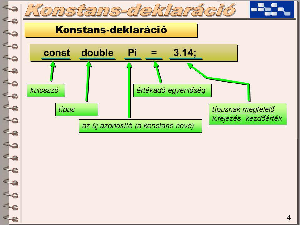 4 Konstans-deklaráció const double Pi = 3.14; kulcsszó típus az új azonosító (a konstans neve) értékadó egyenlőség típusnak megfelelő kifejezés, kezdőérték