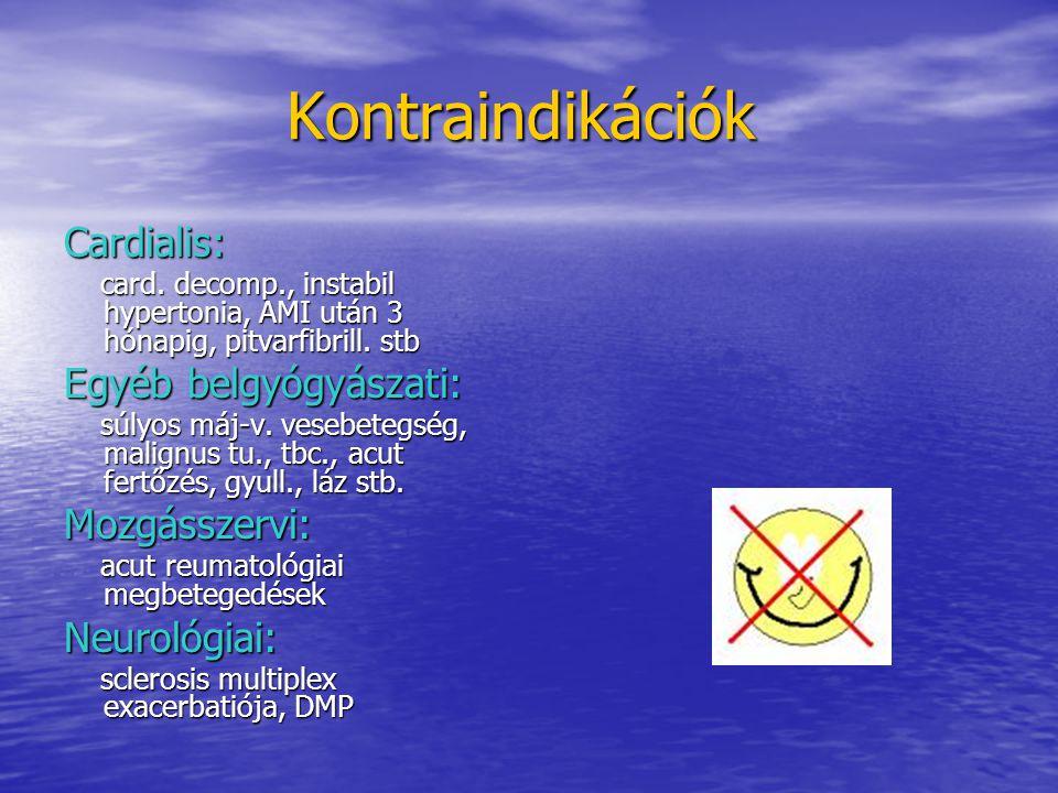 Kontraindikációk Kontraindikációk Cardialis: card. decomp., instabil hypertonia, AMI után 3 hónapig, pitvarfibrill. stb card. decomp., instabil hypert
