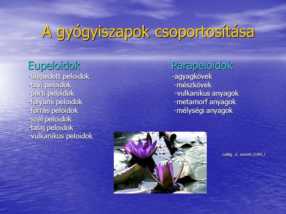 A gyógyiszapok csoportosítása A gyógyiszapok csoportosítása Eupeloidok Parapeloidok Eupeloidok Parapeloidok -ülepedett peloidok -agyagkövek -ülepedett