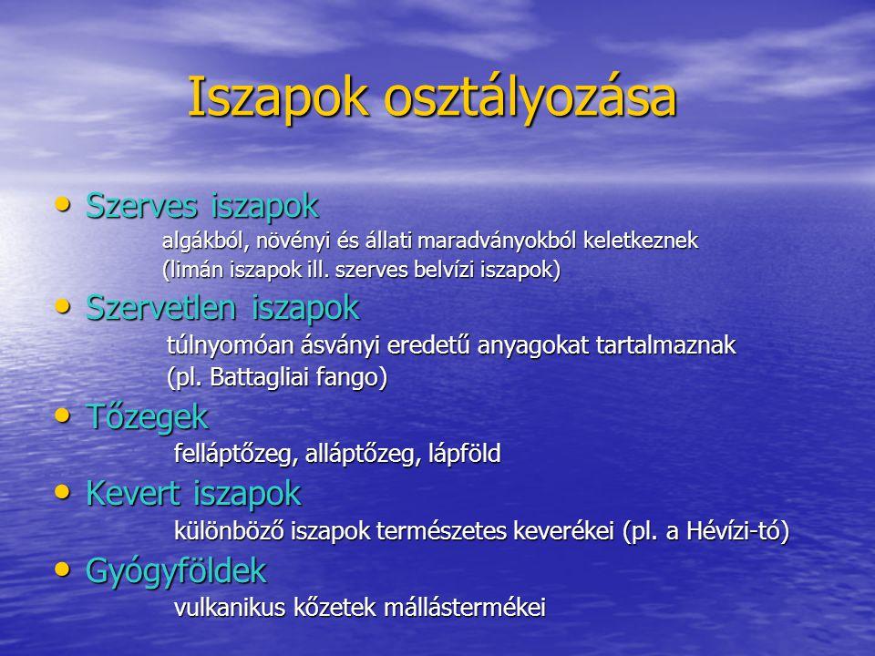 Iszapok osztályozása Iszapok osztályozása Szerves iszapok Szerves iszapok algákból, növényi és állati maradványokból keletkeznek algákból, növényi és