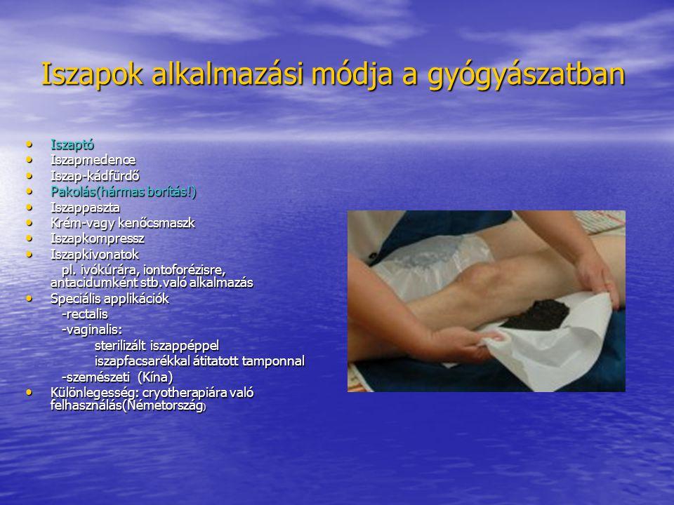 Iszapok alkalmazási módja a gyógyászatban Iszaptó Iszaptó Iszapmedence Iszapmedence Iszap-kádfürdő Iszap-kádfürdő Pakolás(hármas borítás!) Pakolás(hár