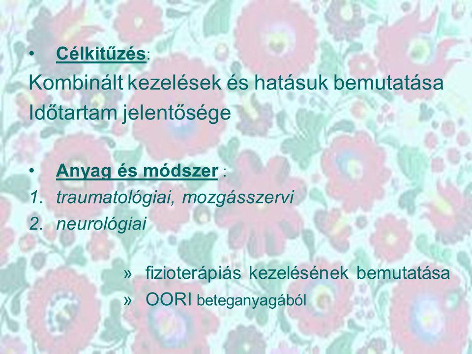 Célkitűzés : Kombinált kezelések és hatásuk bemutatása Időtartam jelentősége Anyag és módszer : 1.traumatológiai, mozgásszervi 2.neurológiai » fiziote