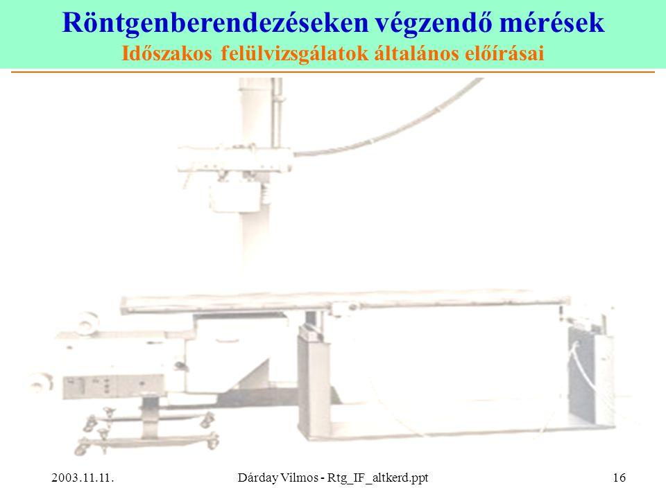 Röntgenberendezéseken végzendő mérések Időszakos felülvizsgálatok általános előírásai 2003.11.11.Dárday Vilmos - Rtg_IF_altkerd.ppt16