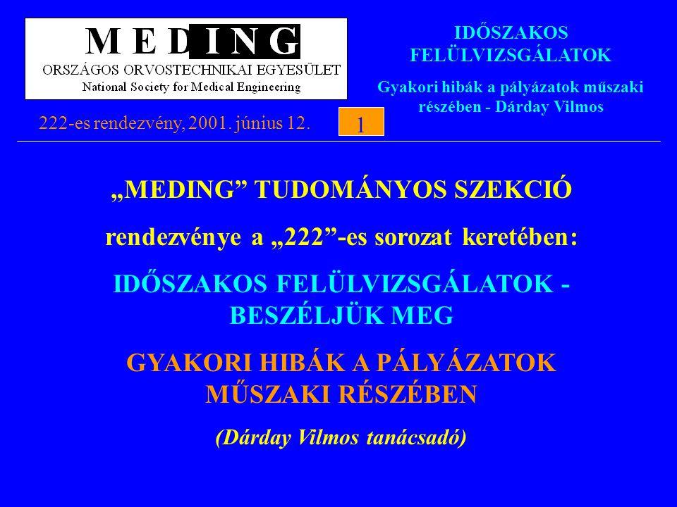 """IDŐSZAKOS FELÜLVIZSGÁLATOK Gyakori hibák a pályázatok műszaki részében - Dárday Vilmos 222-es rendezvény, 2001. június 12.1 1 """"MEDING"""" TUDOMÁNYOS SZEK"""