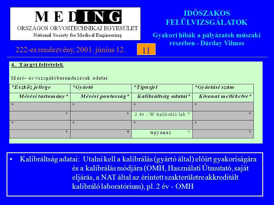 IDŐSZAKOS FELÜLVIZSGÁLATOK Gyakori hibák a pályázatok műszaki részében - Dárday Vilmos 222-es rendezvény, 2001. június 12.11 Kalibráltság adatai: Utal