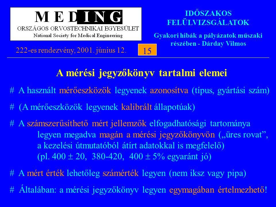 IDŐSZAKOS FELÜLVIZSGÁLATOK Gyakori hibák a pályázatok műszaki részében - Dárday Vilmos 222-es rendezvény, 2001. június 12.15 A mérési jegyzőkönyv tart