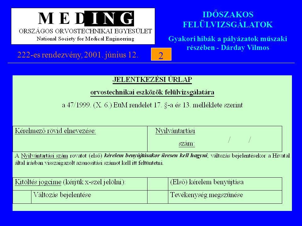 IDŐSZAKOS FELÜLVIZSGÁLATOK Gyakori hibák a pályázatok műszaki részében - Dárday Vilmos 222-es rendezvény, 2001. június 12.2 2