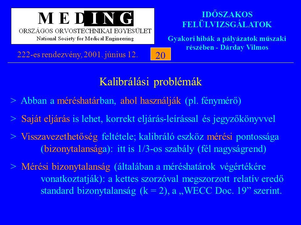 IDŐSZAKOS FELÜLVIZSGÁLATOK Gyakori hibák a pályázatok műszaki részében - Dárday Vilmos 222-es rendezvény, 2001. június 12.20 Kalibrálási problémák > A