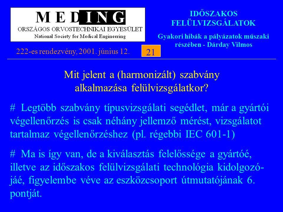 IDŐSZAKOS FELÜLVIZSGÁLATOK Gyakori hibák a pályázatok műszaki részében - Dárday Vilmos 222-es rendezvény, 2001. június 12.21 Mit jelent a (harmonizált