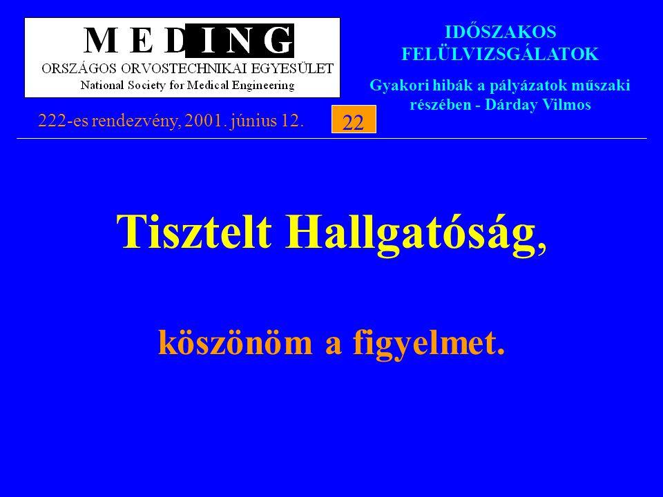 IDŐSZAKOS FELÜLVIZSGÁLATOK Gyakori hibák a pályázatok műszaki részében - Dárday Vilmos 222-es rendezvény, 2001. június 12.22 Tisztelt Hallgatóság, kös