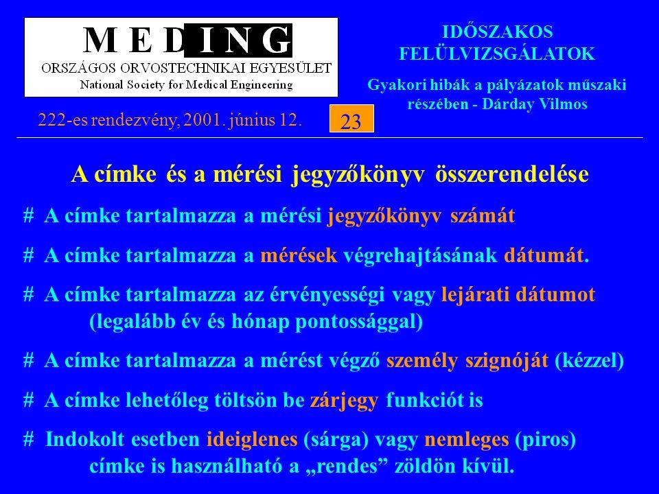 IDŐSZAKOS FELÜLVIZSGÁLATOK Gyakori hibák a pályázatok műszaki részében - Dárday Vilmos 222-es rendezvény, 2001. június 12.23 A címke és a mérési jegyz