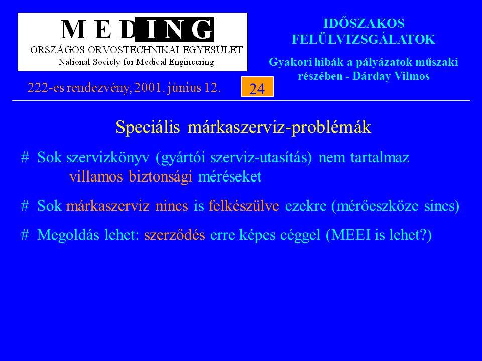 IDŐSZAKOS FELÜLVIZSGÁLATOK Gyakori hibák a pályázatok műszaki részében - Dárday Vilmos 222-es rendezvény, 2001. június 12.24 Speciális márkaszerviz-pr