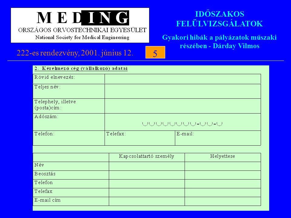IDŐSZAKOS FELÜLVIZSGÁLATOK Gyakori hibák a pályázatok műszaki részében - Dárday Vilmos 222-es rendezvény, 2001. június 12.5 5